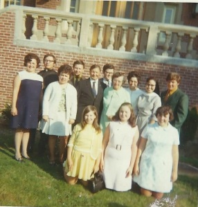 My grandparents with my mother and my ten Aunts and Uncles around 1968 in front of the Poor Clare Monastery