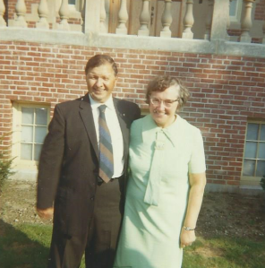 My Grandparents standing in front of the Poor Clare Monastery in Jamaica Plain, Boston